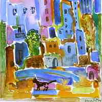 City Landscape with a Cat